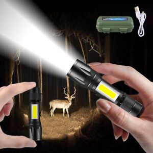 XPE COB LED 3 Modes Mini Flashlight USB Rechargeable Tactical Torch Zoom Lamp US
