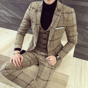 Beige-Plaid-Men-Tweed-Suit-Vintage-Groom-Tuxedo-Wedding-Suit-Prom-Party-Casual