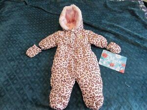 combipilote fille déperlante léopard rose à capuche moufles Taille 3 - 6 mois
