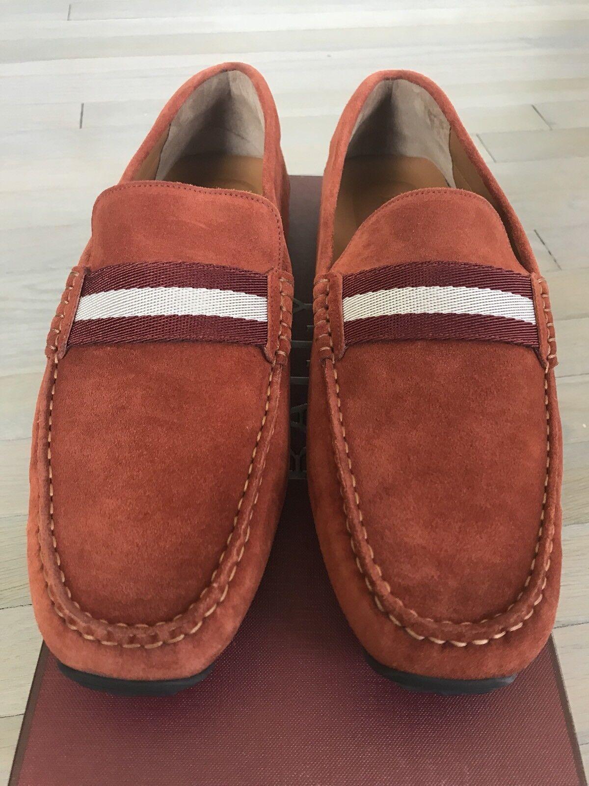 550  Bally Pearce Rust Sienna US Suede Driver Size US Sienna 13 Made in Italy 8125e4