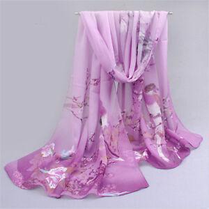 New-Long-Women-039-s-Printed-Flower-Soft-Silk-Chiffon-Neck-Scarf-Wrap-Shawl-Stole