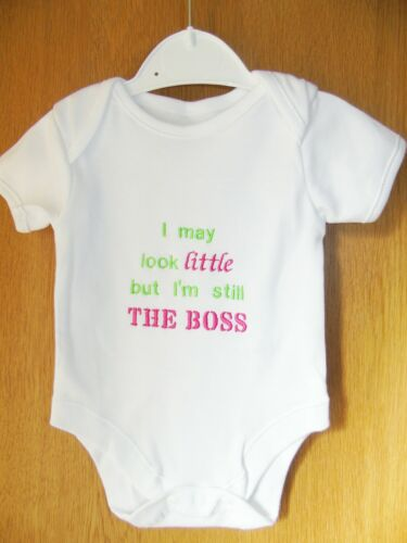 An EMBROIDERED BABY I MAY LOOK LITTLE BUT I/'M STILL THE BOSS BODYSUIT//VEST