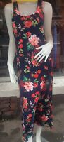 Black Floral Print  Racer Back  Clubwear/Casual  Summer Long Dress Size 8-10