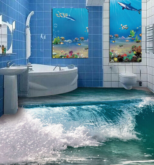 3D Green Sea Waves 532 Floor WallPaper Murals Wall Print Decal AJ WALLPAPER CA