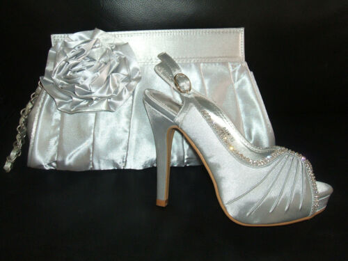 SIZE 2 2.5 3 SILVER GREY SATIN DIAMANTE SLINGBACK OCCASION SHOES SANDALS /& BAG