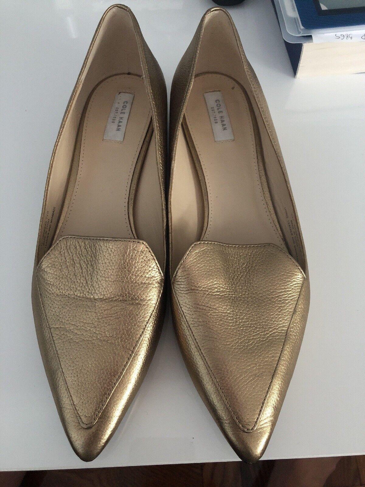 Cole Haan Damenschuhe Schuhes Größe 7.5Gold Metallic Pointy dress schuhe