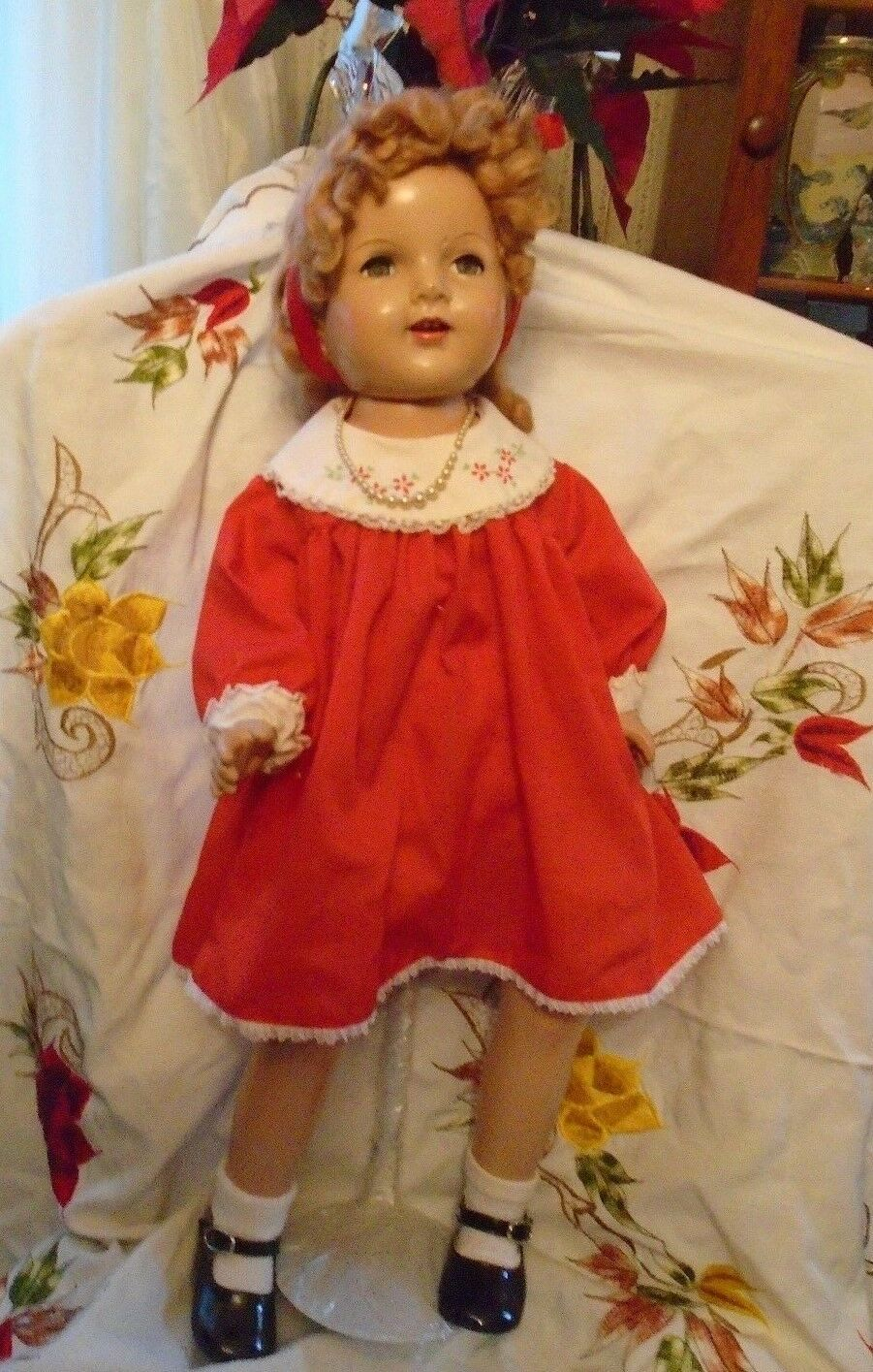 BEAUTIFUL VTG. COMPOSITION DOLL~1935-- 30  TALL ~MOHAIR WIG ~NO MARK