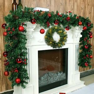 Details About 9ft Christmas Garland Xmas Decorated Garland Fireplace Mantel Tree Pine Hanging