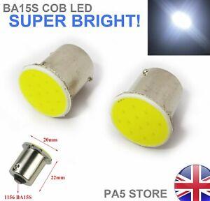 2x-BA15S-COB-LED-Bulbs-WHITE-Clear-Bright-Signal-Reverse-Lights-P21W-1156-UK
