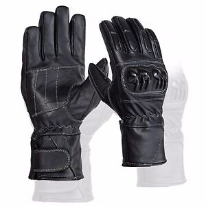 Black Leather Knuckle Protection Motorbike Motorcycle Gloves Winter Glove Ebay