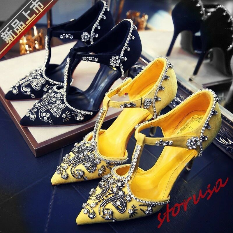 Womens Prom T-strap Buckle Stiletto high Heels shoes Pointed Rhinestone Sandals