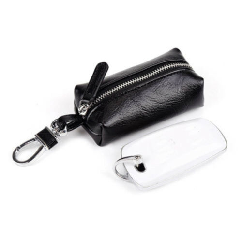 Leather Cover Synthetic Zipper Keychain Pouch Purse Wallets Coin Bag Key Case