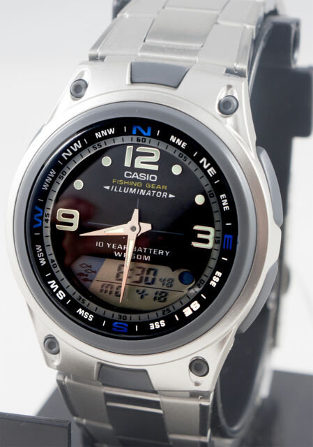 Casio AW-82D-1AV Fishing Timer Moon Data Watch Steel Brand 10 Year Battery New
