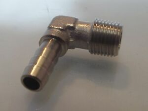 1/8 Male Bsp X 6 mm Elbow Nickel plated Brass hose tail