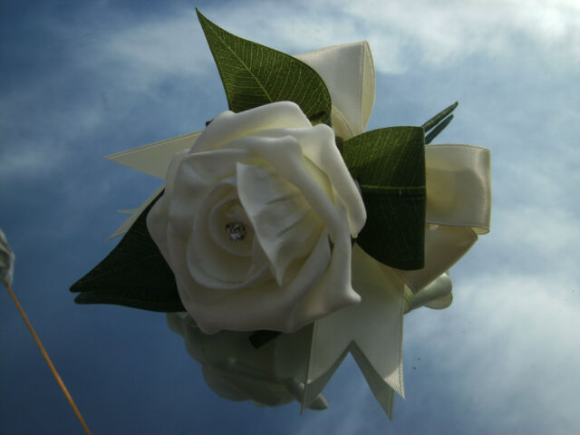 Wedding flowers ivory rose ladies buttonholex1 with diamante or pearls,satin bow
