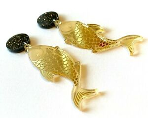 Fish-Earrings-Surgical-Steel-Studs-Gold-Mirror-Acrylic-Statement-Earrings