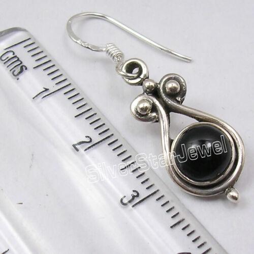 "Women/'s Day Gifts 7 x 7 mm Black Onyx Earrings 1.4/"" 925 Solid Silver"