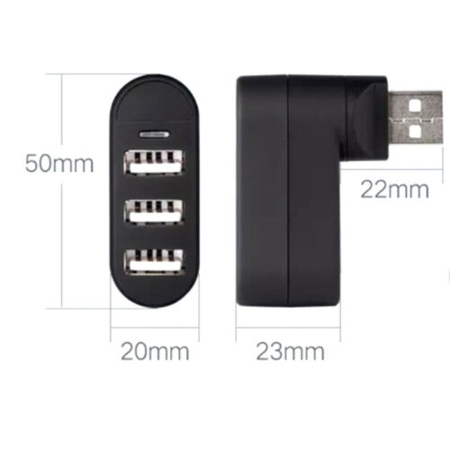 Rotatable 3Ports USB HUB 2.0 USB Splitter Adapter for Notebook//Tablet ComputerFD
