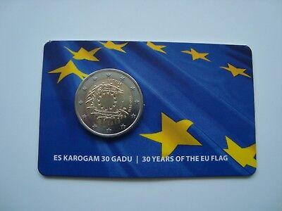 Lettonie Lettland 2 Euro BU coincard 30 years of EU Flag 2015 Latvia