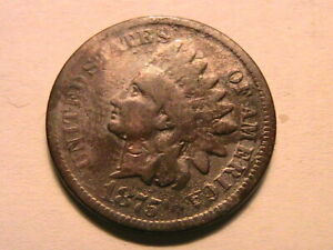1875-Good-Indian-Head-Bronze-Cent-Original-Toned-One-Small-Penny-US-Coin