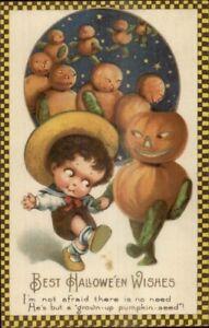 Halloween-Winsch-Freixas-Boy-Dancing-w-Pumpkin-People-c1910-Postcard