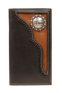 Kneeling-Cowboy-Concho-Leather-Overlay-Brown-Nocona-RODEO-WALLET-Roper