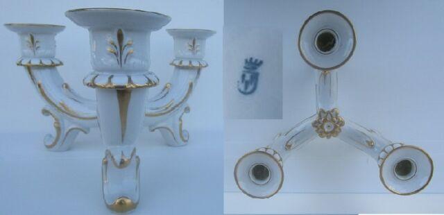 großer 3 armiger kerzenleuchter weiss-gold  35cm 15 hoch plaue thüringen 1907-