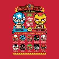 Avengers Captain America Iron Man Spiderman Panther Lucha Libre Men T-shirt M-2x