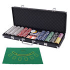 Poker Chip Set 500 Dice Chips Texas Hold'em Cards with Black Aluminum Case New