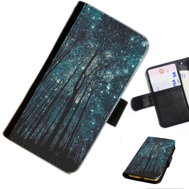 Sky 06 árbol estrellas noche IMPRESO Cartera de Cuero/cubierta para Estuche Abatible Para Teléfono Móvil