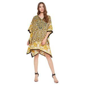 Women Casual Tunic V Neck Kimono Sleeve Kaftan Loose Short Top Blouse Mini Dress