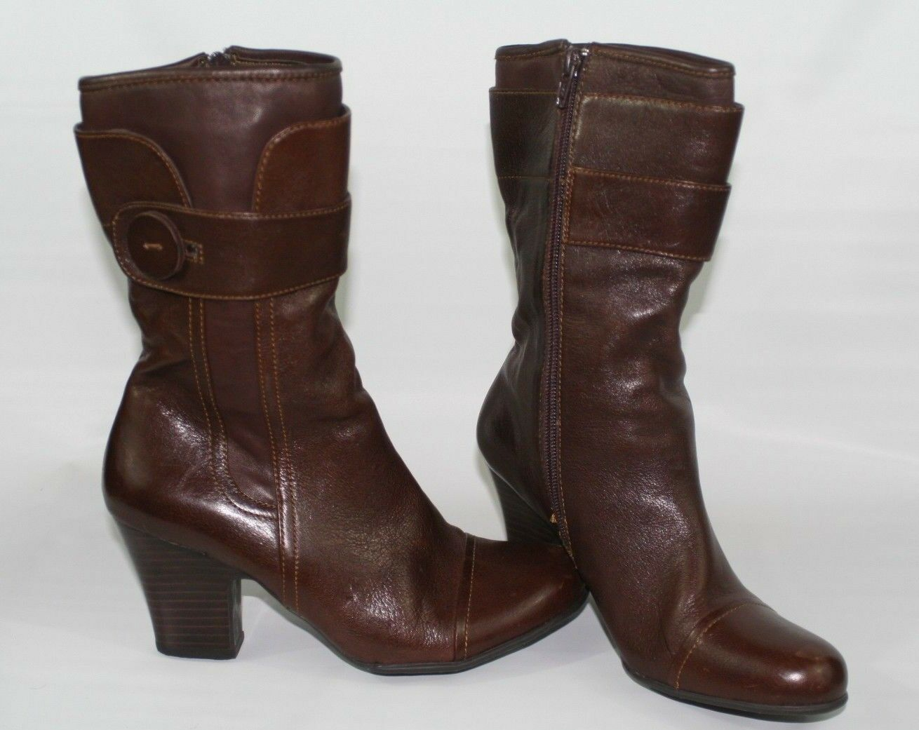 """BORN Women's Size 7.5 / 38.5 Brown Leather High Ankle Boots Size Zipper 3"""" Heel"""