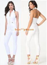 NWT bebe white XXS XS 0 denim halter zipper top pants romper jumper jumpsuit