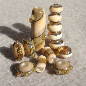 CREME-BRULEE-Set-13-Handmade-Glass-Beads-Flaming-Fools-Lampwork-Art-Glass-SRA