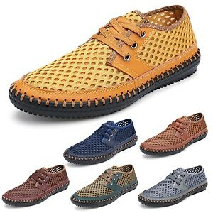 Mens-Real-leather-loafers-Sneakers-Breathable-Lace-up-Oxford-Shoes-size-tata