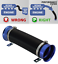 UNIVERSAL COLD AIR FEED//INTAKE PIPE BLACK with BLUE RAMS UN2101B-Austin
