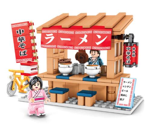 DIY Mini Japanese JP City Street Market Shop Toy Building Blocks Bricks