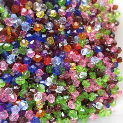 1000 4 mm BELLE BOBINE biconique Perles Acrylique Choix De 10 Couleurs Artisanat /& Bijoux