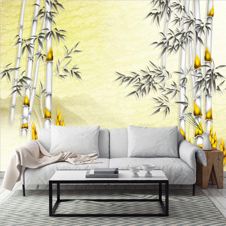 3D Gelb Bamboo Leaves 811 Wallpaper Mural Paper Wall Print Wallpaper Murals UK