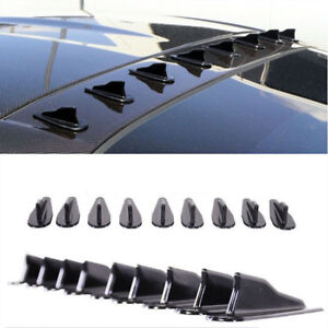 9-Universal-EVO-Style-Shark-Fins-Spoiler-Wing-Kit-PP-Roof-Vortex-Generator-CL