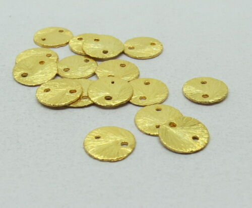 8mm Coin Charms Gold Overlay Brushed Mat Finish Links Connectors 20 Pieces