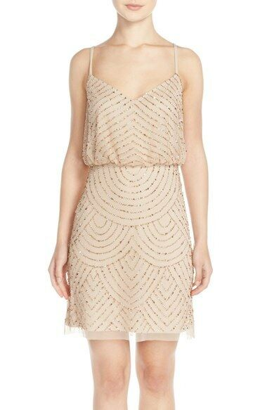 ADRIANNA PAPELL SEQUIN MESH BLOUSON CHAMPAGNE gold DRESS  sz 10
