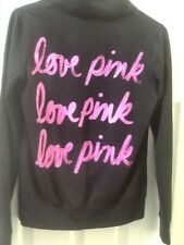 VICTORIAS. SECRET PINK Size XS  Black  1/4 Zip Pullover.  LOVE PINK on back