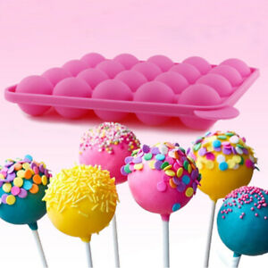 20-Capacity-Round-Shape-Silicone-Lollipop-Mould-Tray-Candy-Chocolate-Baking-Mold