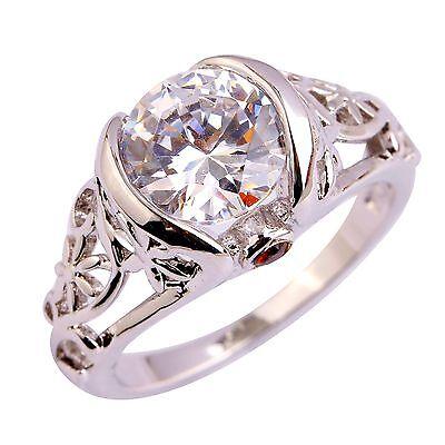 Elegant Round Cut White Topaz & Garnet Gemstones Silver Rings Size 6 7 8 9 10 11