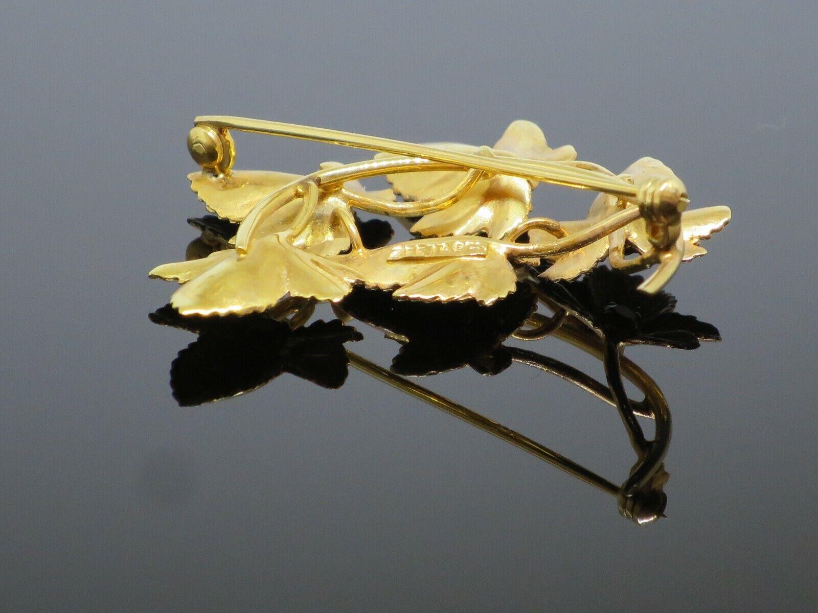 Vintage 0.5CTW Garnet 9K Yellow Gold Brooch Pin, … - image 4