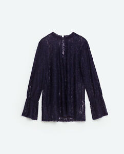 ce792781f16ce Details about ZARA Blue Floral Lace Top Long Sleeve Gathered Cuff Back  Button New Top XS  S  M