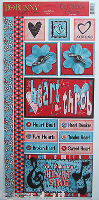 ~HEART THROB~ Bo-Bunny Cardstock Stickers; VALENTINE'S DAY, Love, Sweetheart