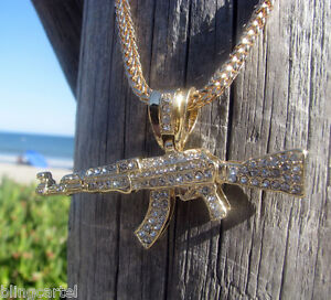 Ak 47 gun rifle iced out bling pendant big chain gold finish 36 image is loading ak 47 gun rifle iced out bling pendant mozeypictures Choice Image