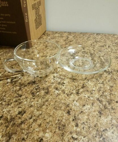 Clear cup with saucer  Tea//Coffee Set of 2 cup//saucer 2 cup 2saucer